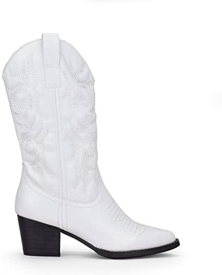 Botas Cowboy en cuero blanco